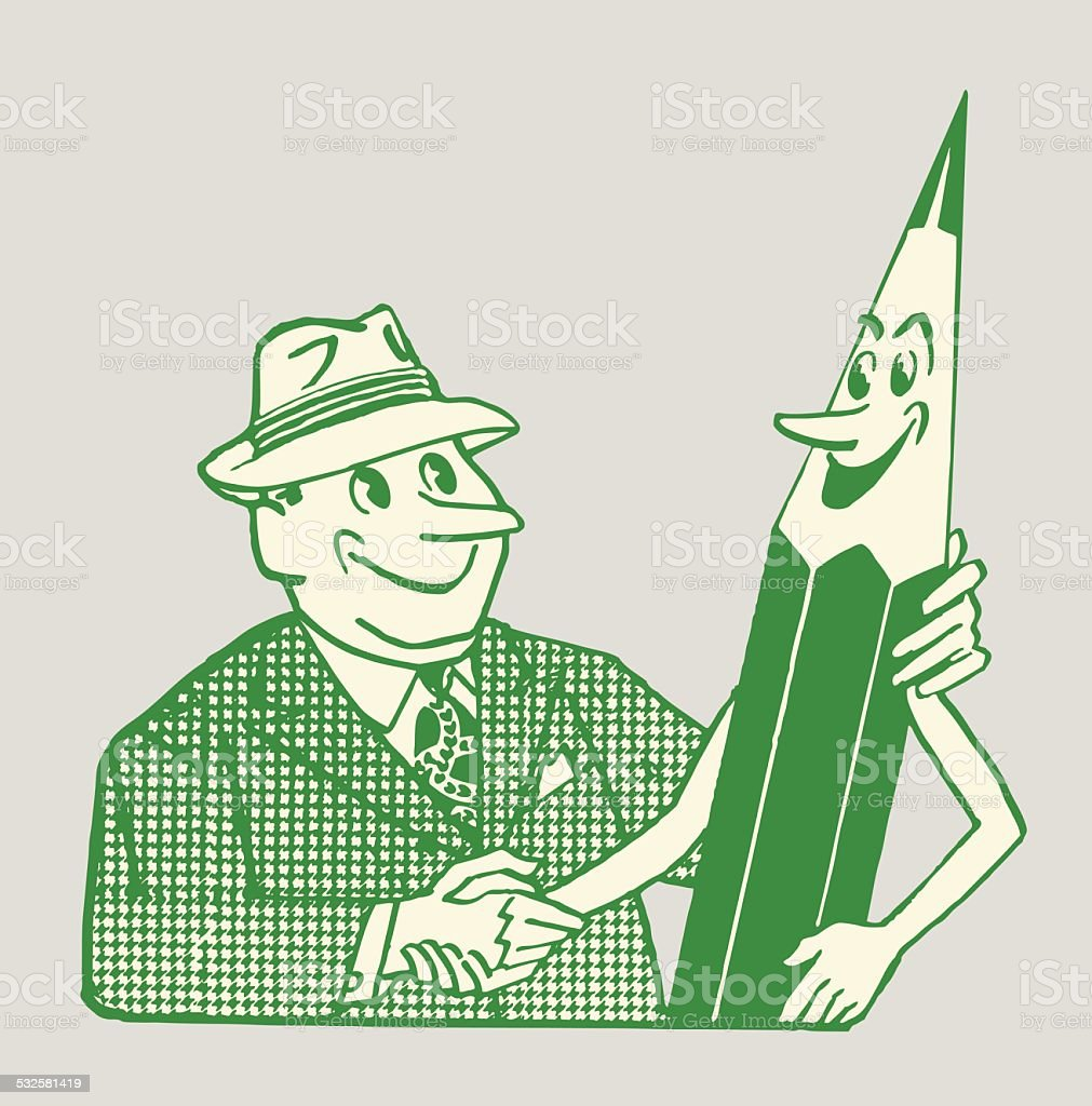 Man Shaking Hands with a Pencil vector art illustration