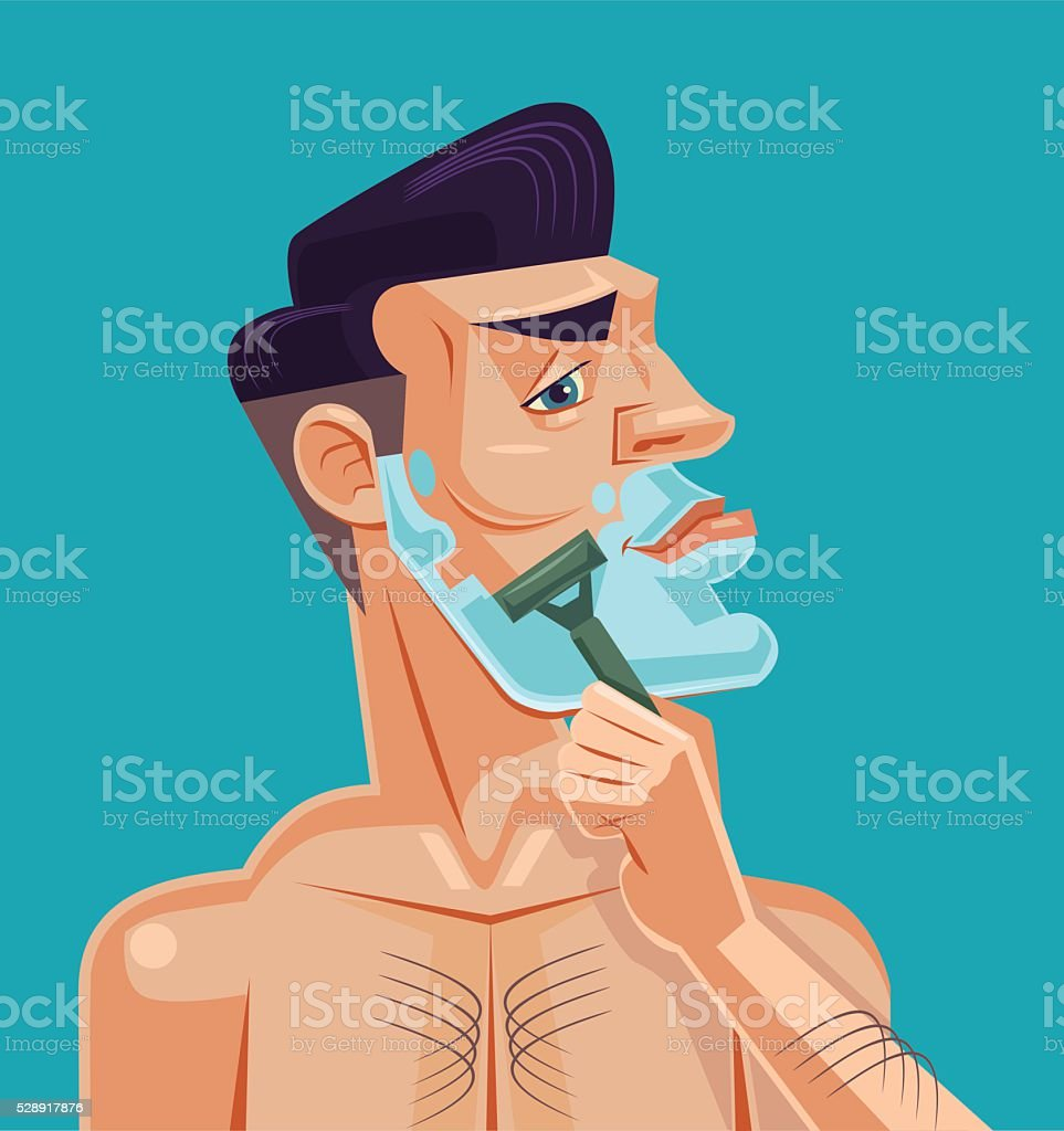 Man shaving face. Vector flat cartoon illustration vector art illustration