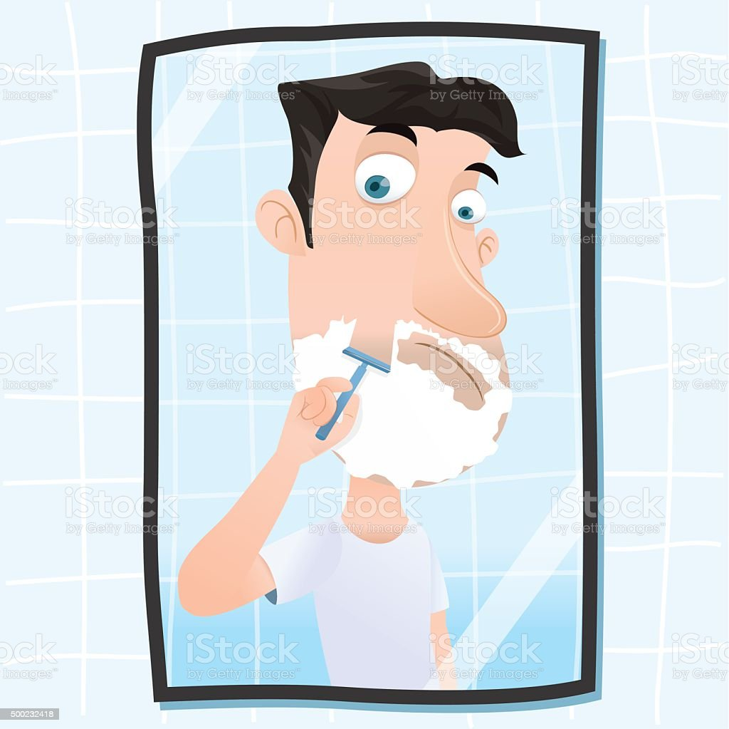 man shaving his beard vector art illustration