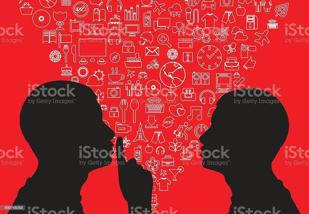 Man shhh vector art illustration
