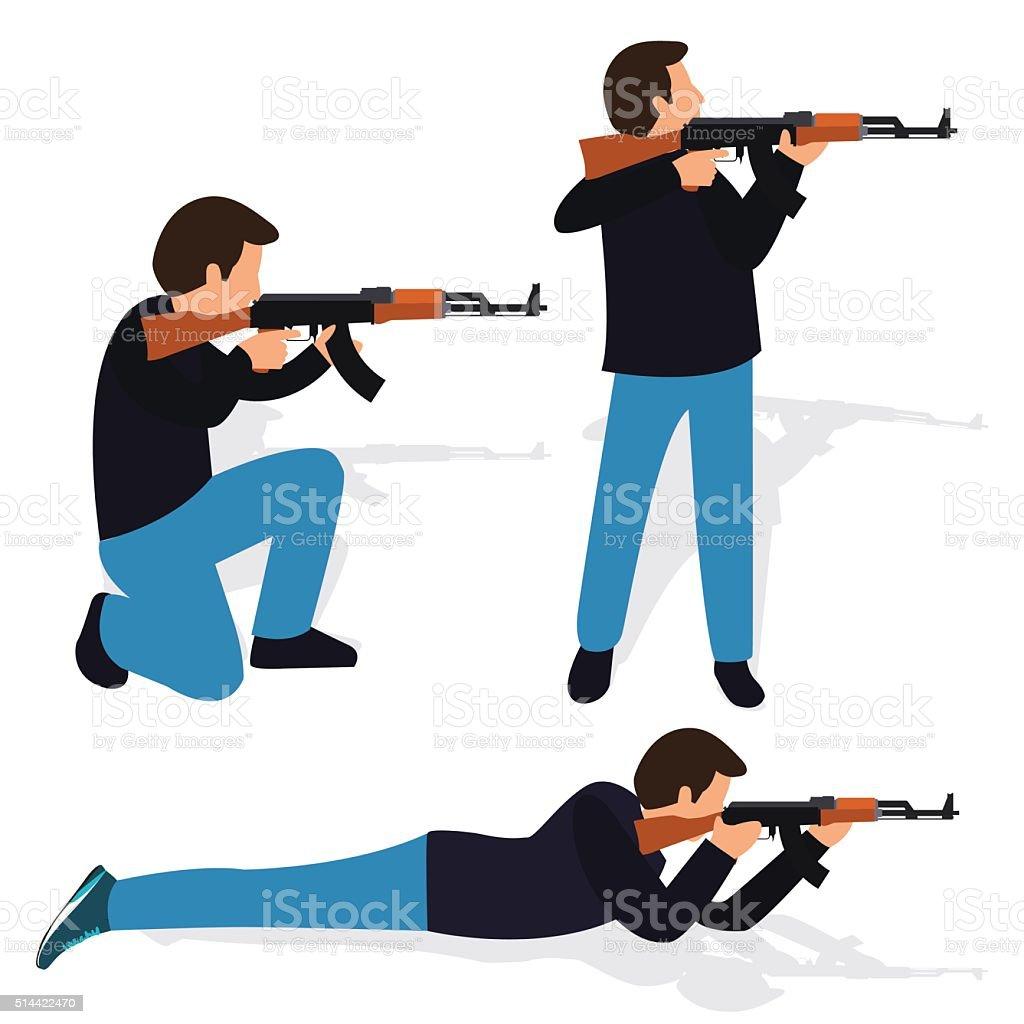 man shooting rifle gun weapon position shot action firearm standing vector art illustration