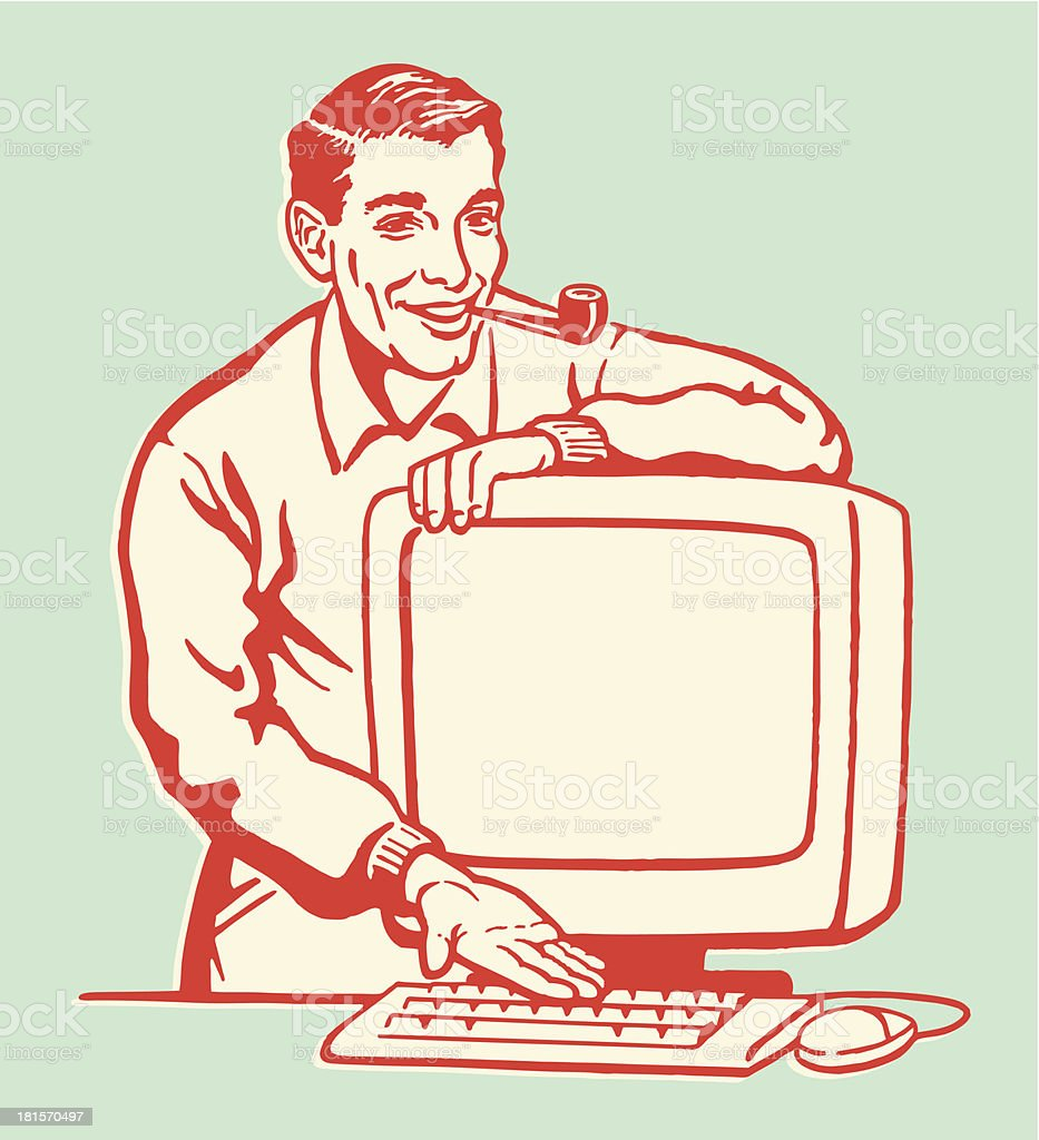 Man Showing Personal Computer vector art illustration