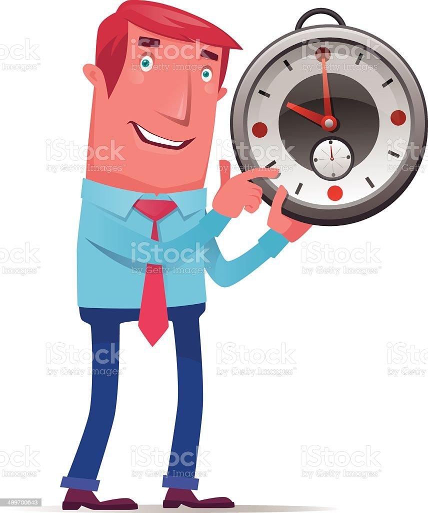man showing time vector art illustration