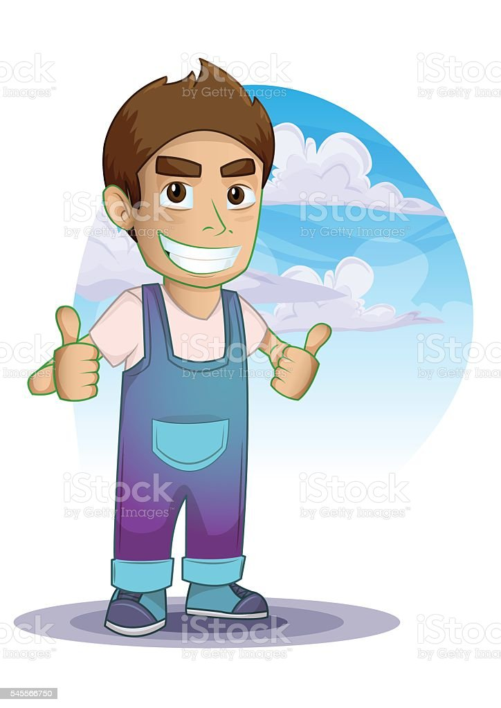 Man shows a sign Thumb Up with separated layers vector art illustration