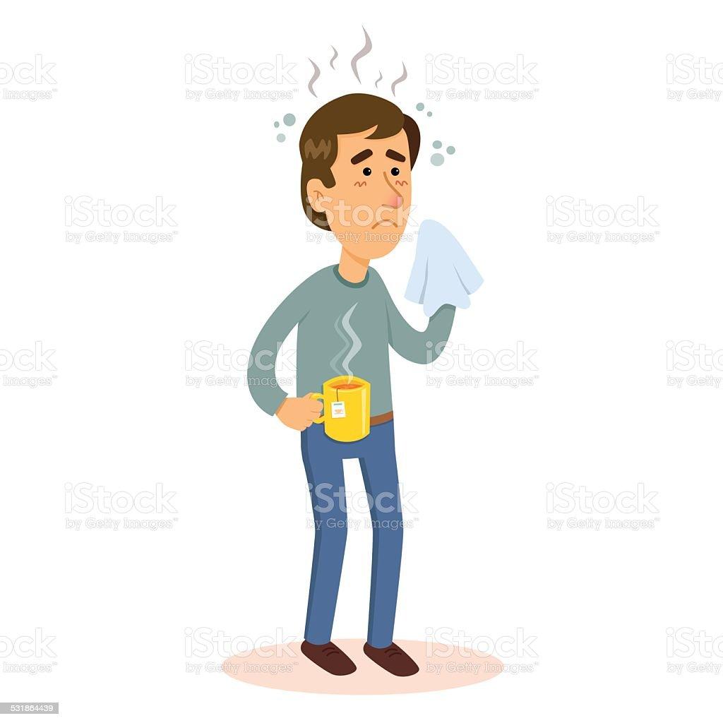 Man sick with flu vector art illustration