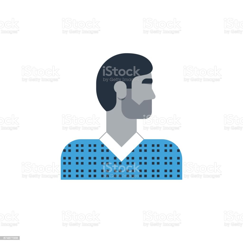 Man side view, turned head, casual outfit, good-looking person vector art illustration