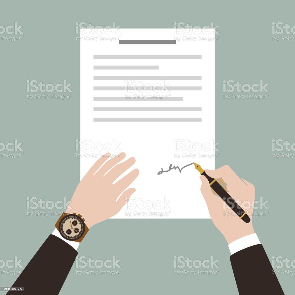 man sign contract using pen vector art illustration