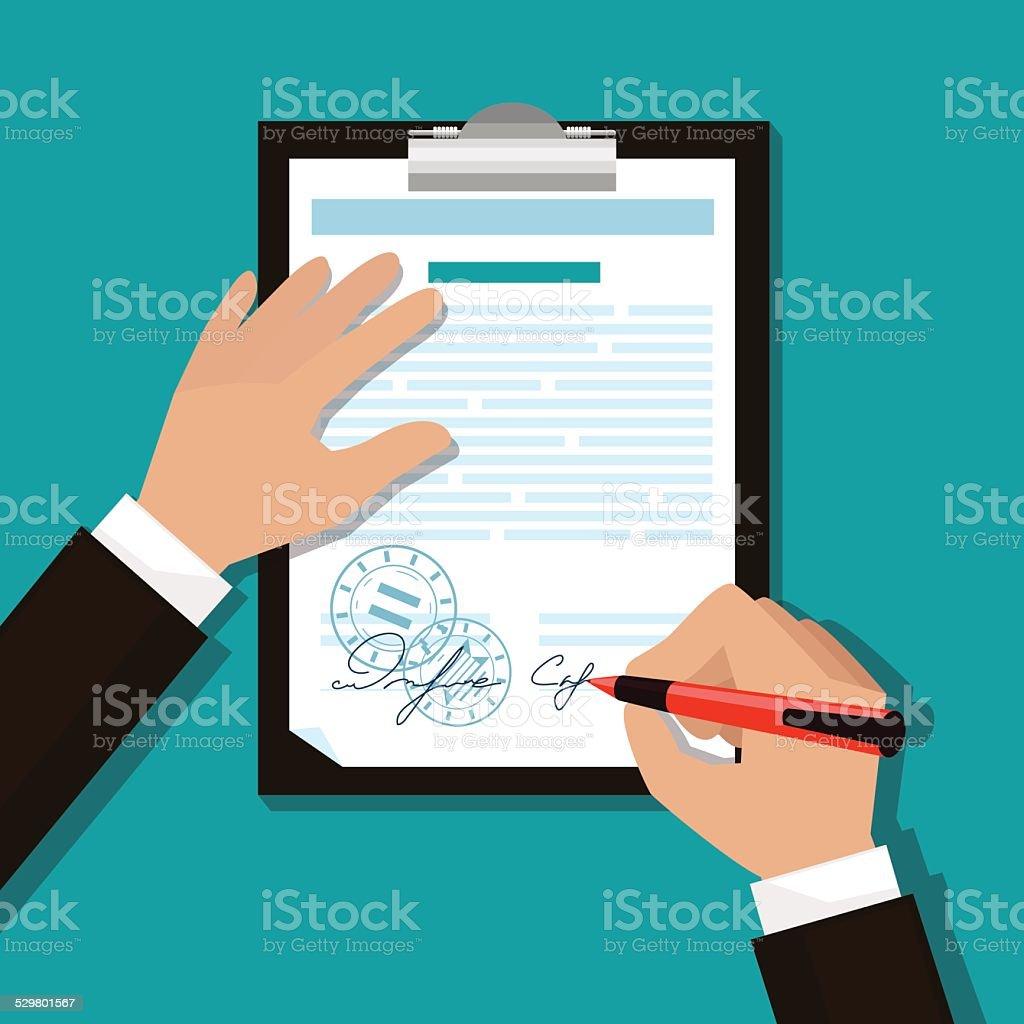 man signs documents vector art illustration