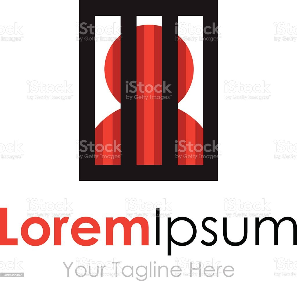 Man silhouette behind bars simple business icon logo vector art illustration