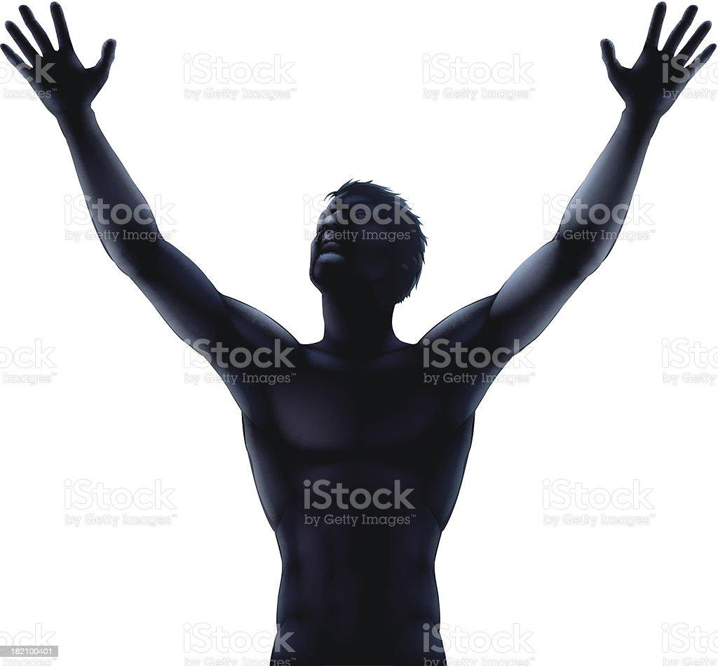 Man silhouette hands raised vector art illustration