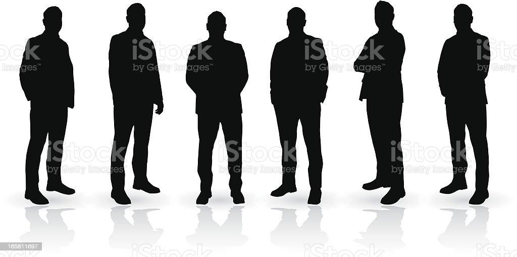 Man silhouette set vector art illustration