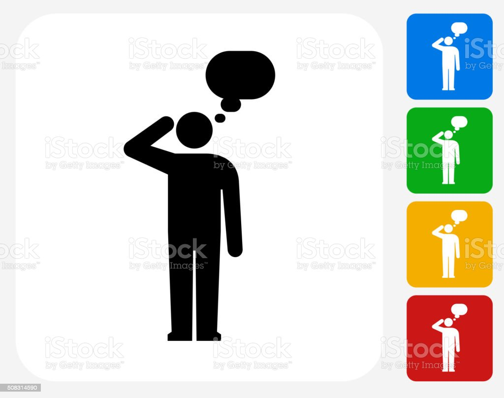 Man Silhouette Thinking Icon Flat Graphic Design vector art illustration