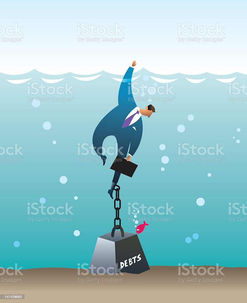 Man sinking in water by the weight of his debts royalty-free stock vector art