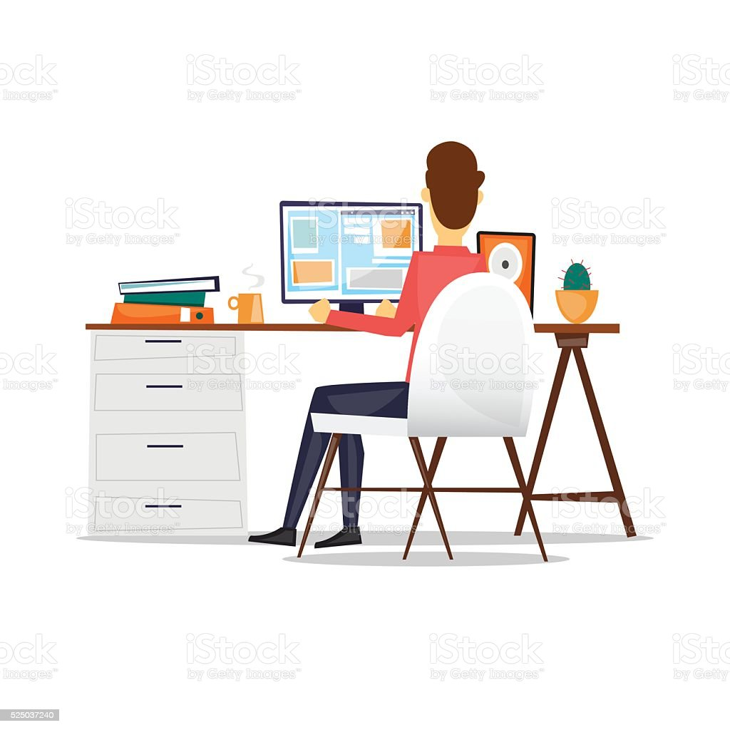 Man sitting at a desk and working on the computer. vector art illustration