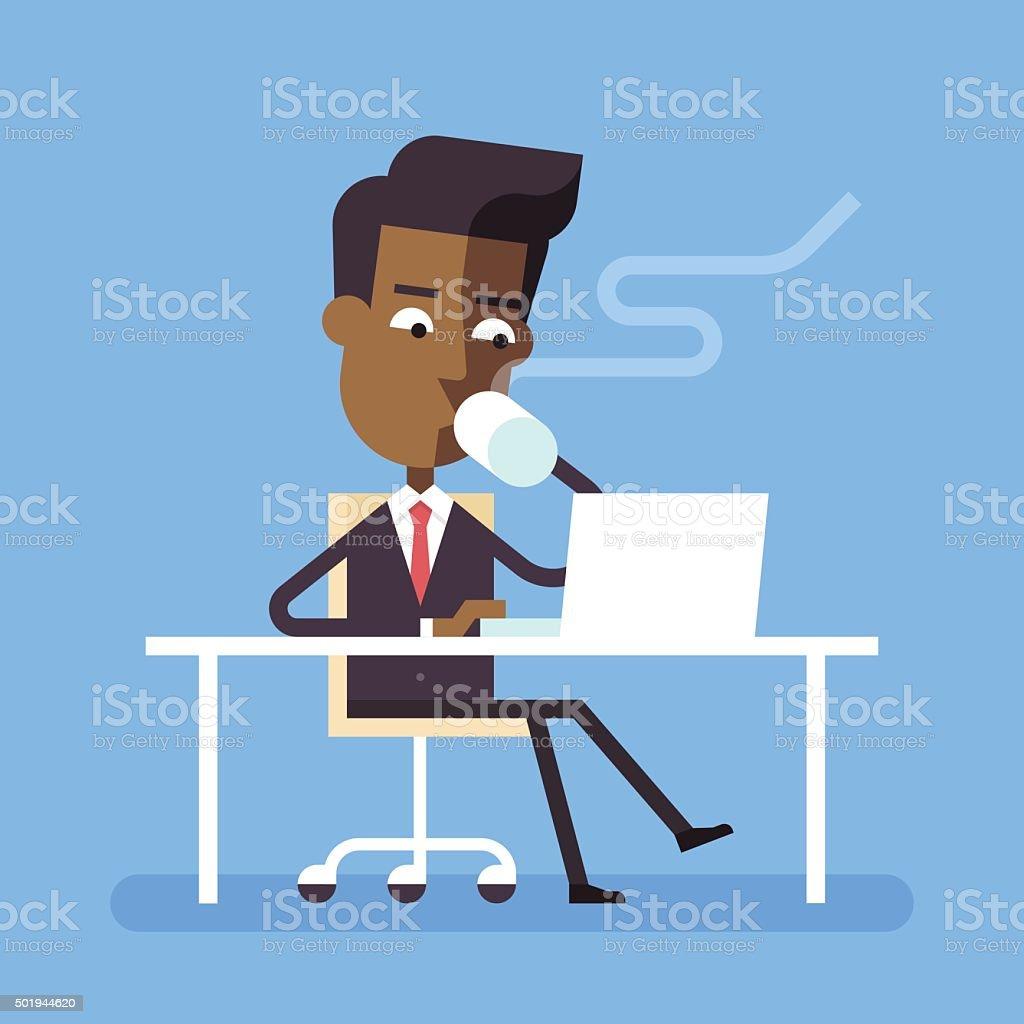 Man sitting at desk with laptop and hot beverage. vector art illustration