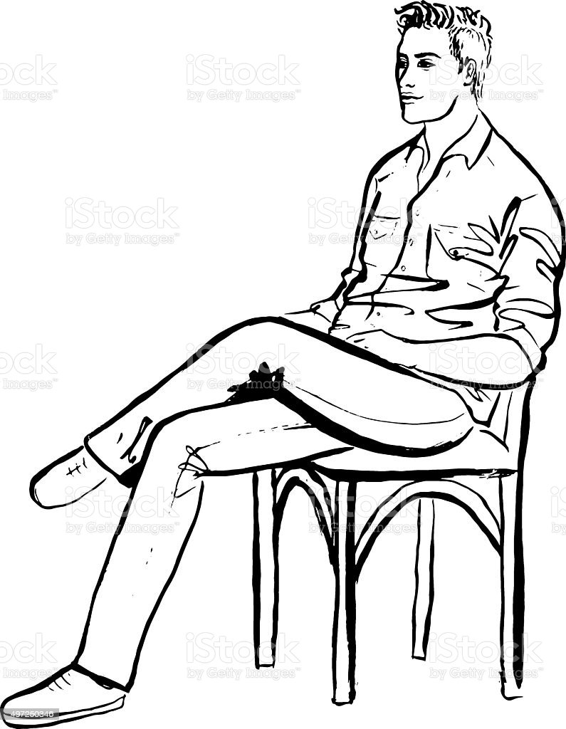 Man sitting in chair drawing - Man Sitting In Cafe Vector Art Illustration