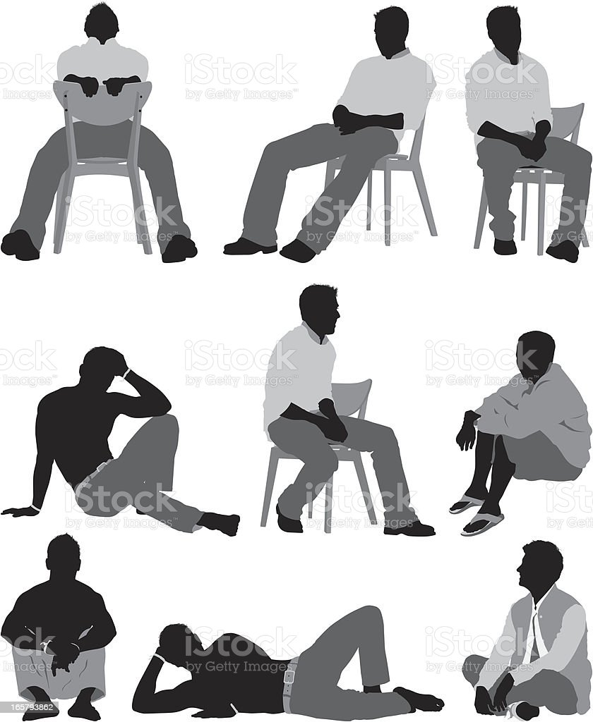 Man sitting in different poses royalty-free stock vector art