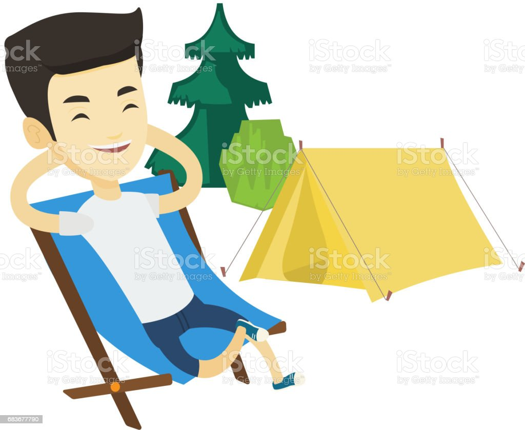 Man sitting in folding chair in the camp vector art illustration