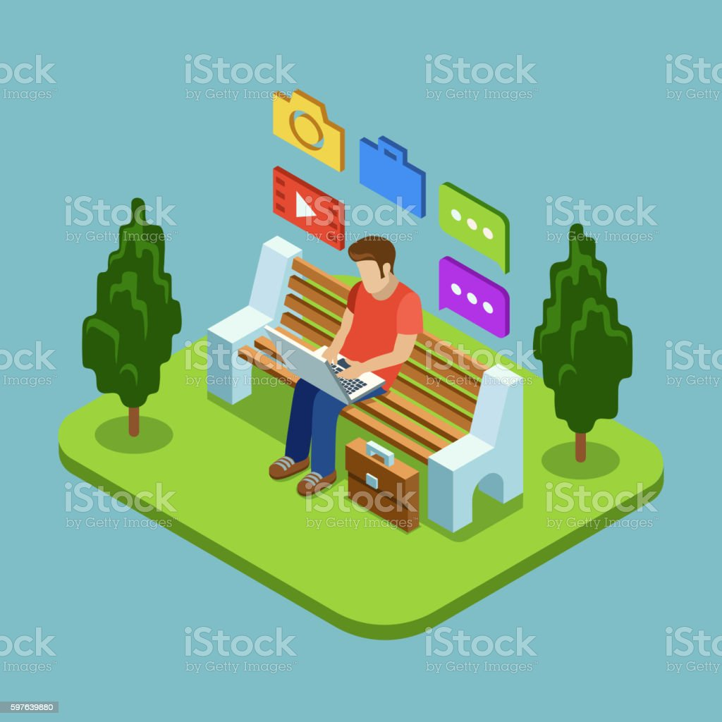 Man sitting in the park and working with laptop vector art illustration