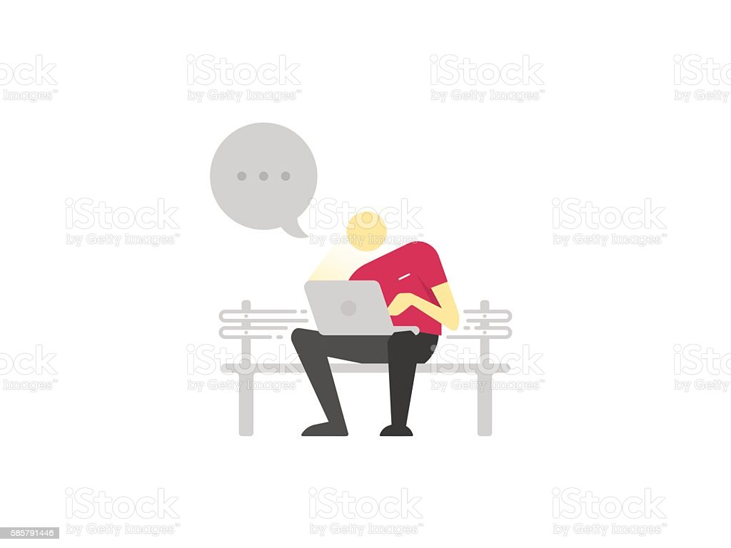 Man sitting on a bench with laptop and chatting. vector art illustration