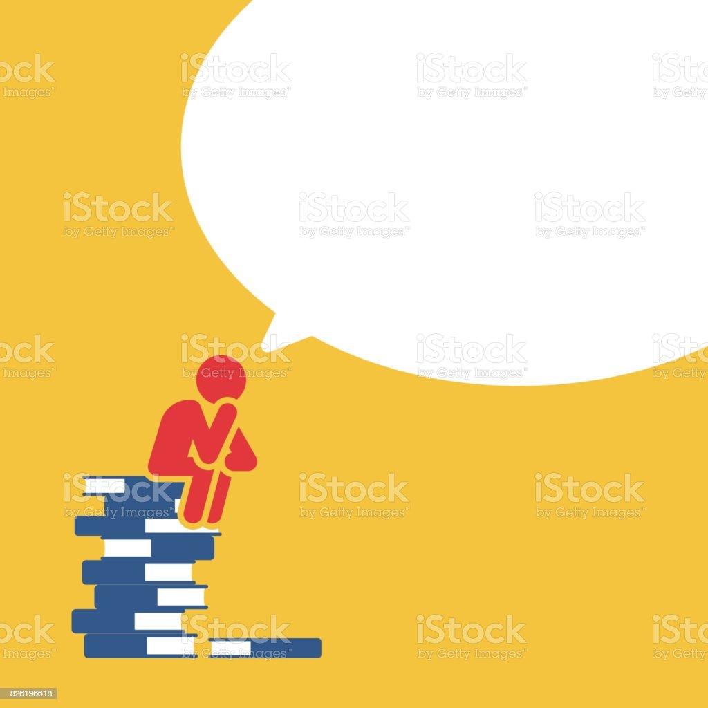 Man sitting on books pile thinking about future vector art illustration
