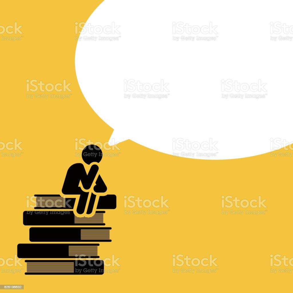 Man sitting on books pile thinking vector art illustration