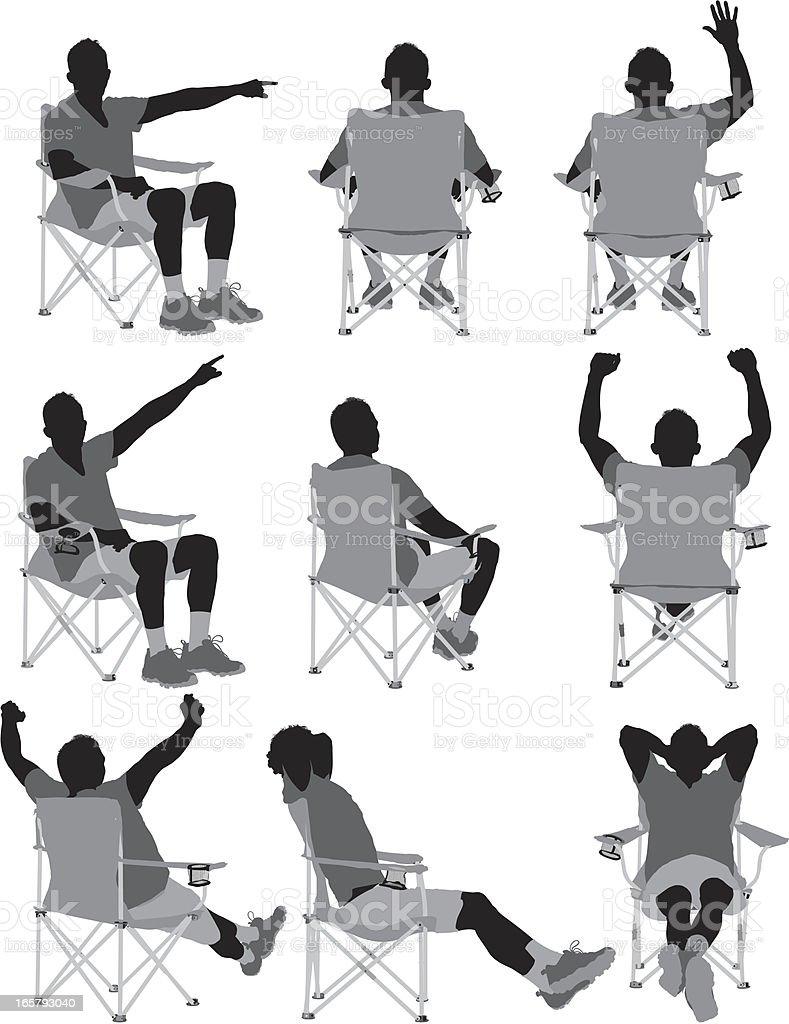 Man sitting on folding chair royalty-free stock vector art