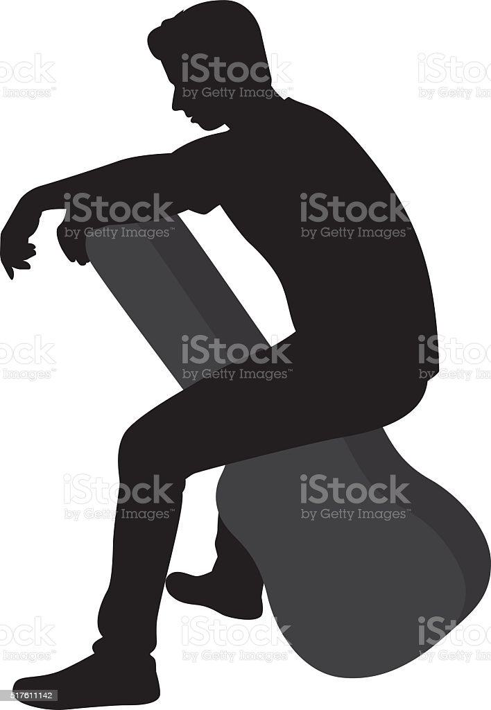 Man Sitting on Guitar Case Silhouette vector art illustration