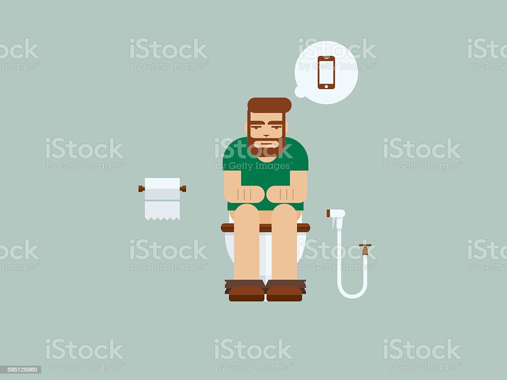 Man sitting on the toilet, he missing smartphone vector art illustration