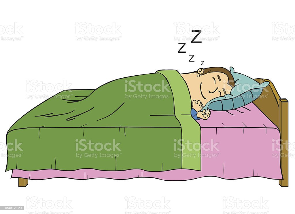 Man sleeping in a wooden bed with green and pink sheets vector art illustration