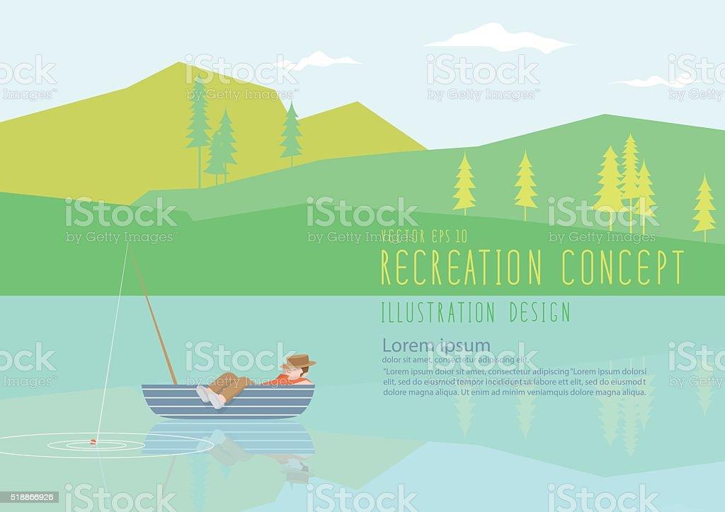 Man sleeping on a fishing boat in nature flat vector. vector art illustration