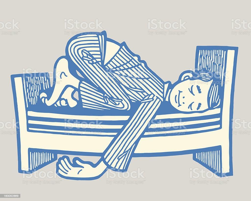Man Sleeping on a Short Bed vector art illustration