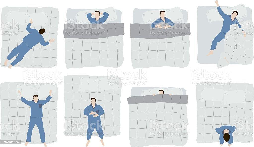 Man sleeping on bed vector art illustration