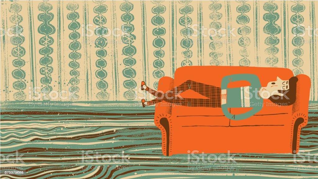Man sleeping on the sofa vector art illustration