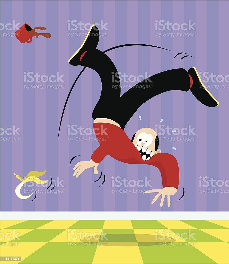 Man slipping on a banana peel vector art illustration