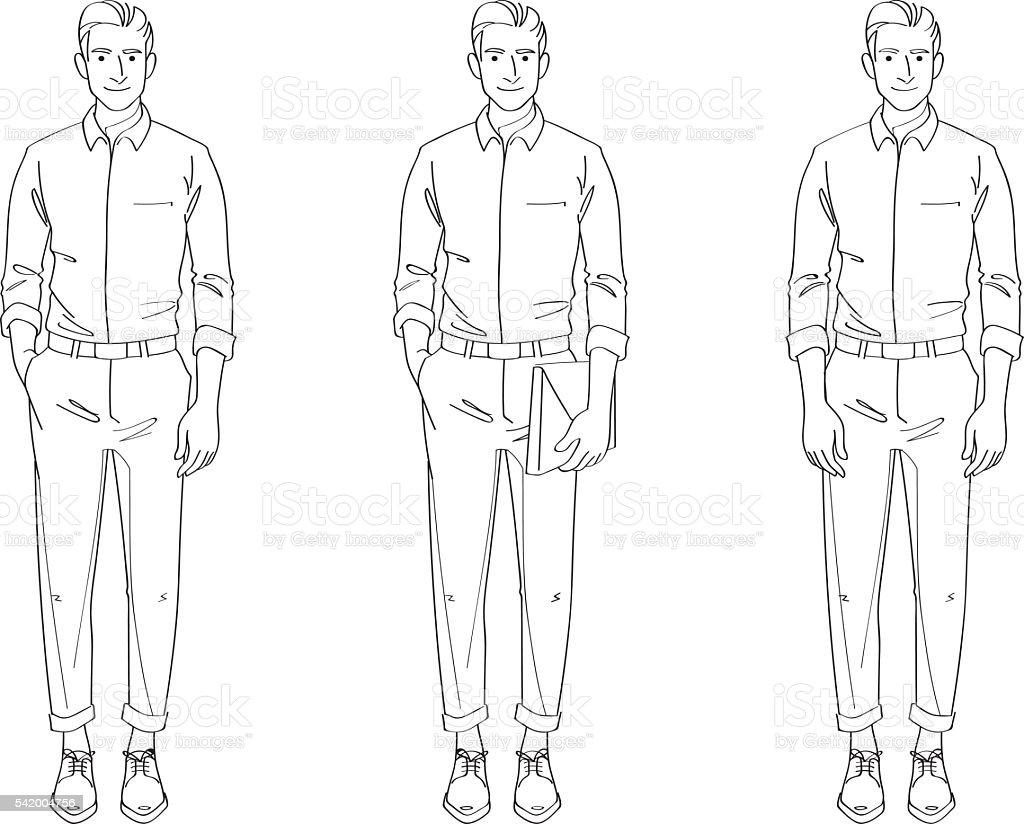 Line Art Man : 男 スマートカジュアル線画イラストレーション のイラスト素材 istock