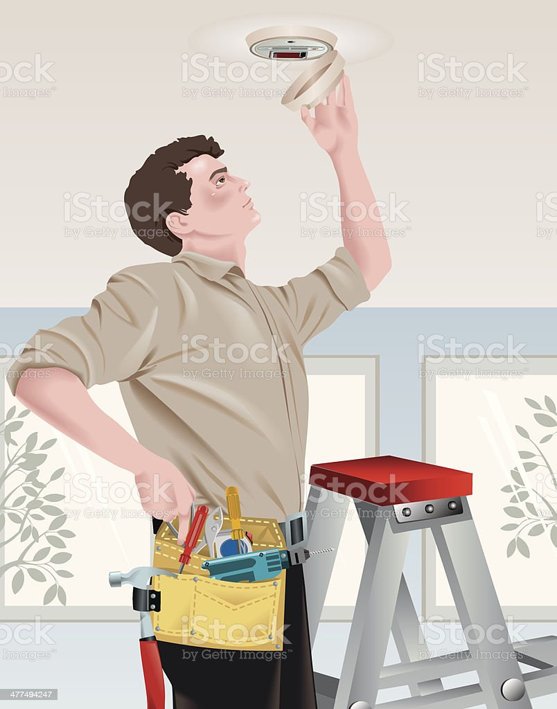 Man Smoke Alarm vector art illustration