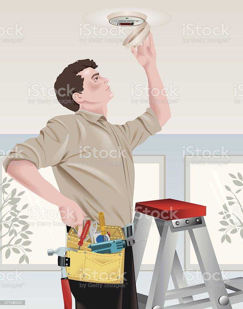 Man Smoke Alarm vector art illustration