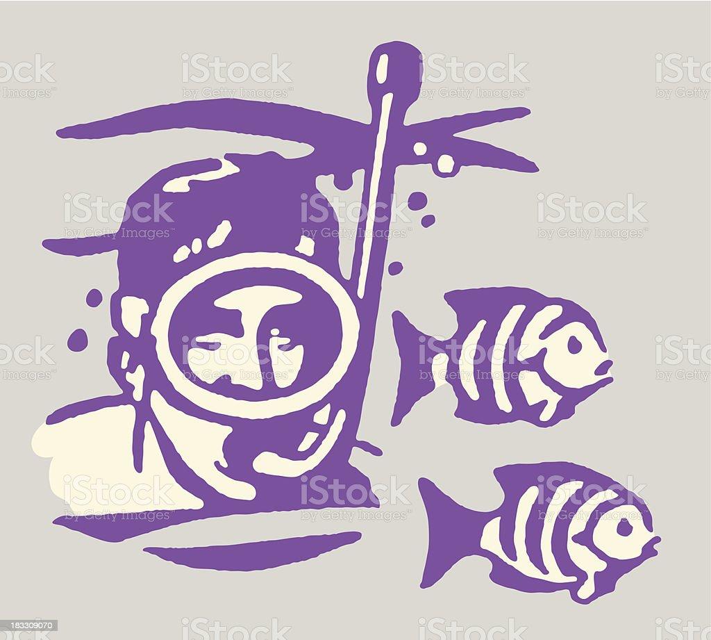 Man Snorkeling Among Fish royalty-free stock vector art