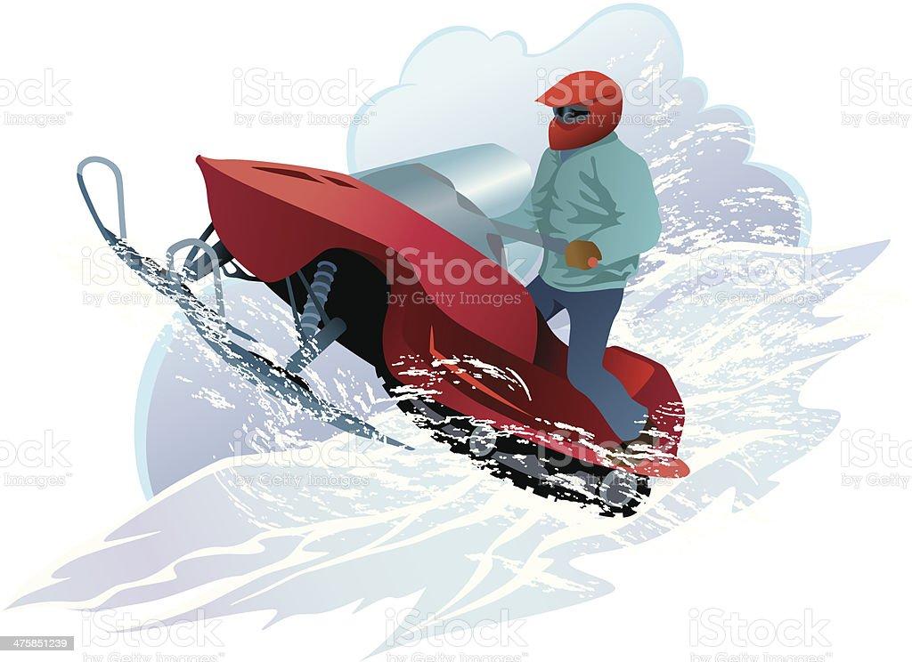 Man Snowmobiling C vector art illustration