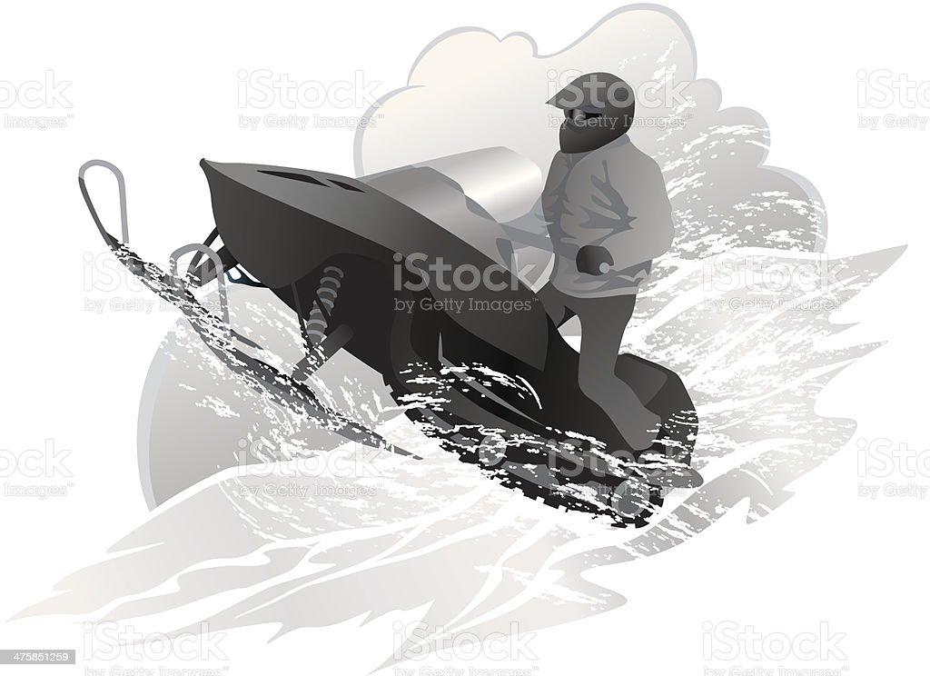 Man Snowmobiling vector art illustration