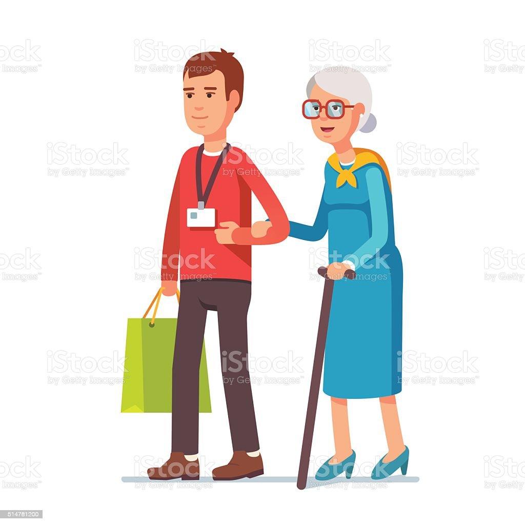 Man social worker helping elder grey haired woman vector art illustration