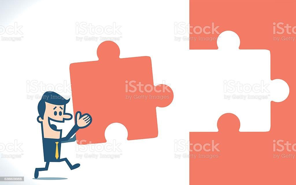 Man solving a puzzle vector art illustration