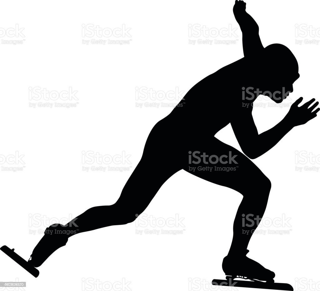 man speedskater vector art illustration