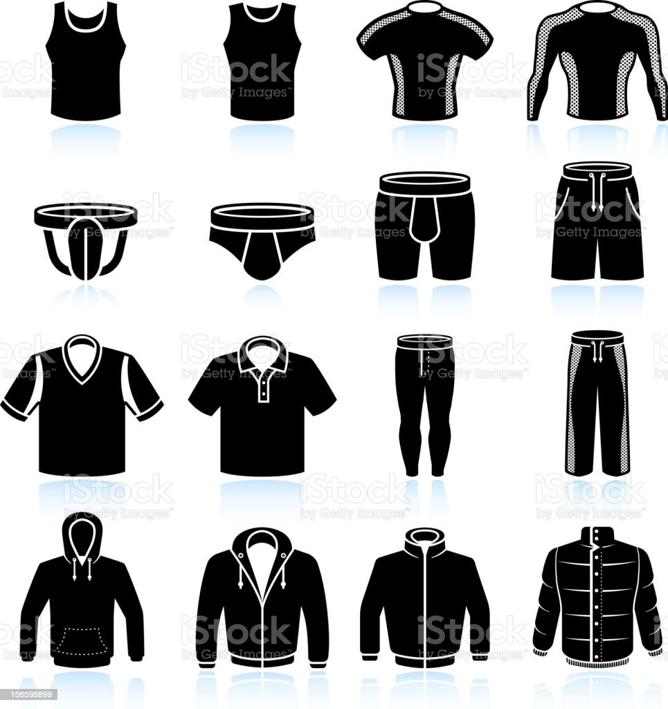 man Sportswear and Clothing black & white vector icon set vector art illustration