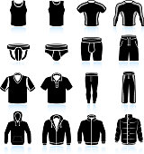 man Sportswear and Clothing black & white vector icon set