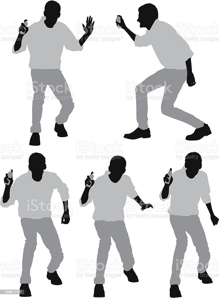 Man spraying party string royalty-free stock vector art