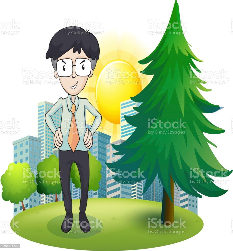 Man standing beside the pine tree royalty-free stock vector art
