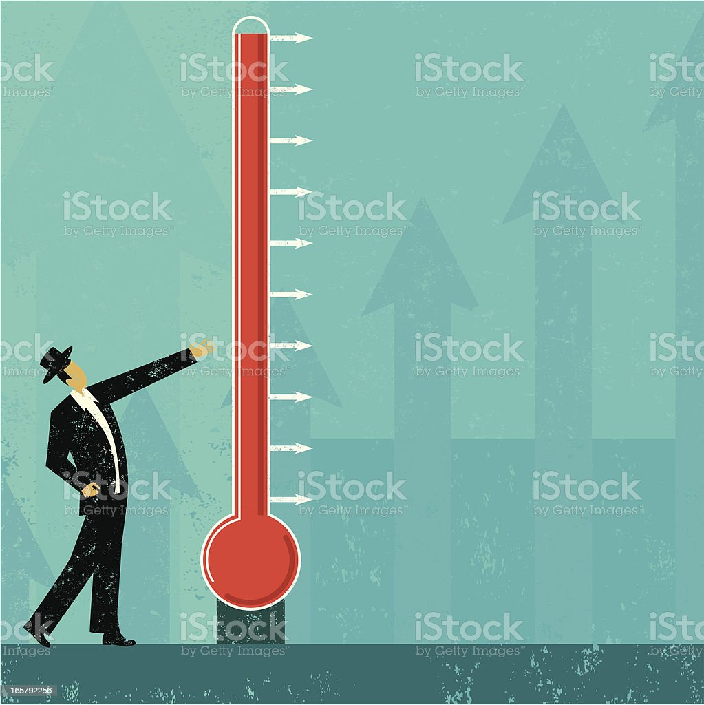 A man standing by a goal thermometer royalty-free stock vector art