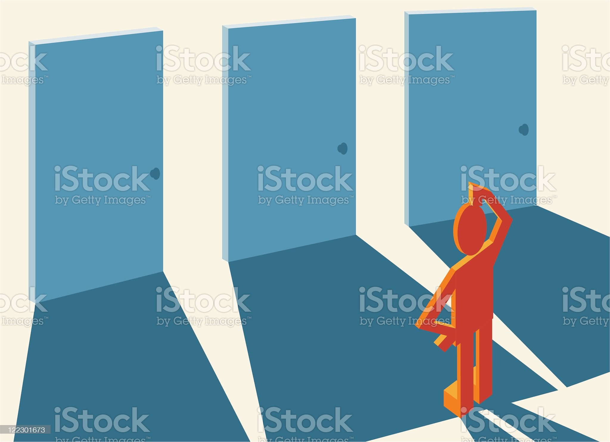 A man standing by different doors to choose from royalty-free stock vector art